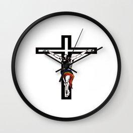 Christ Wearing Rainbow Loincloth On Stylized Cross Wall Clock