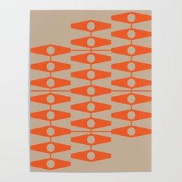 abstract eyes pattern orange tan Poster