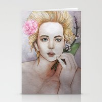 jennifer lawrence Stationery Cards featuring Jennifer Lawrence  by Giulia Colombo