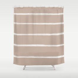 Skinny Strokes Gapped Horizontal Off White on Nude Shower Curtain