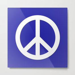 Peace (White & Navy Blue) Metal Print