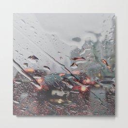Red and rain Metal Print