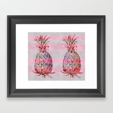 pink pineapple graphic mixed media art Framed Art Print