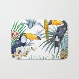 Big Tropical Pattern Toucans Parrot Pineapples Bath Mat