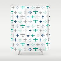 planes Shower Curtains featuring Planes by chantae