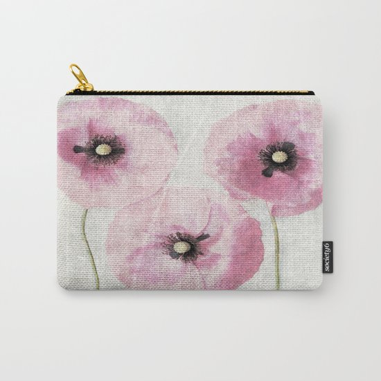 Pink Vintage Poppies Carry-All Pouch
