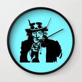 Neon Aqua Uncle Trump Needs You Wall Clock