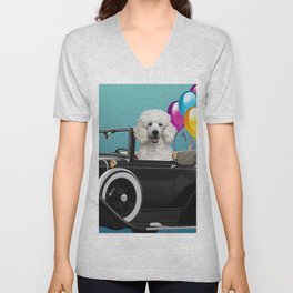 Poodle Dog in Cabriolet with Balloons  Unisex V-Neck