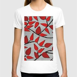 Red Autumn Leaves over Dark Skies T-shirt