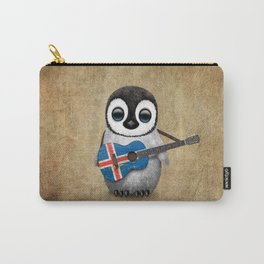Baby Penguin Playing Icelandic Flag Acoustic Guitar Carry-All Pouch