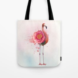 digital painting of Pink flamingo with flower Tote Bag