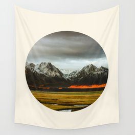 Iceland Landscape Grass Orange Sand & Grey Mountains Round Frame Photo Wall Tapestry