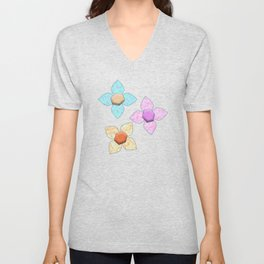 Pink Blue Yellow Abstract Flowers Unisex V-Neck