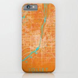 Joliet, IL, USA, Gold, Blue, City, Map iPhone Case