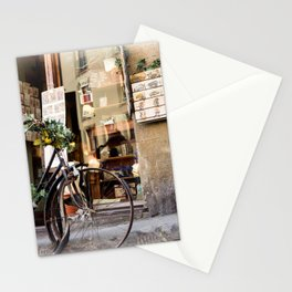 Old Bike in front of romantic shop. Florence Stationery Cards
