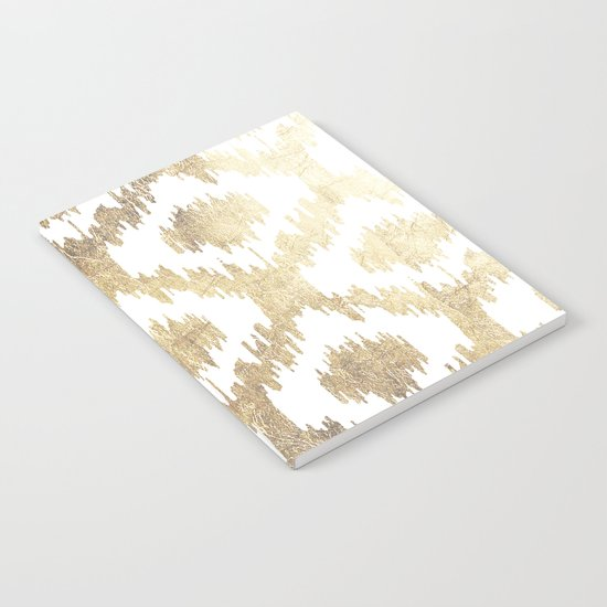 Modern white hand drawn ikat pattern faux gold  Notebook