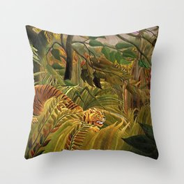 Tiger in a Tropical Storm - Surprised! by Henri Rousseau Throw Pillow