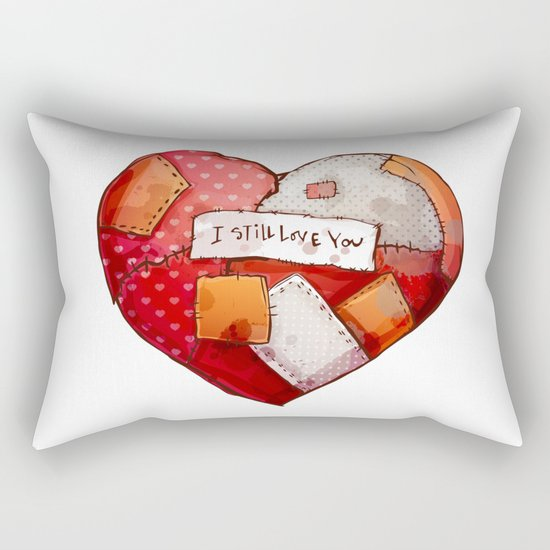 Heart with patches. Valentines day illustration. Rectangular Pillow