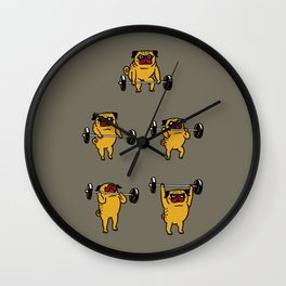 Pug Clean and Jerks Wall Clock