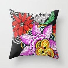 dark flowers Throw Pillow