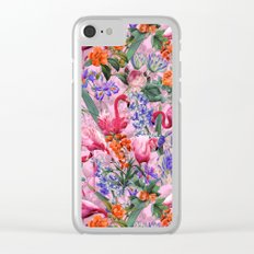 Floral and Flemingo VI pattern Clear iPhone Case