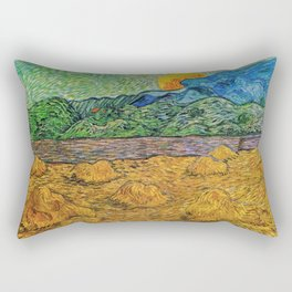 Evening Landscape with Rising Moon by Vincent Van Gogh Rectangular Pillow