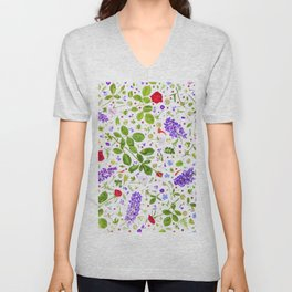 Leaves and flowers (14) Unisex V-Neck