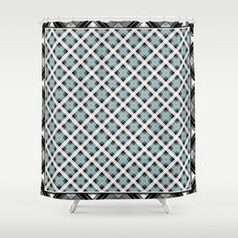 Tartan 1 blue , gray blue Shower Curtain