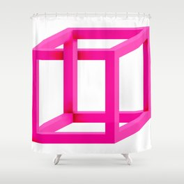 Impossible Cube in Pink Shower Curtain