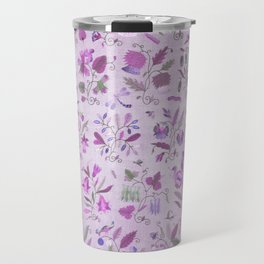 Vintage Floral Pattern With Flowers In Purple and Lavender Travel Mug