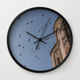 Birds Flying on the Blue Sky, Zadar Croatia Wall Clock