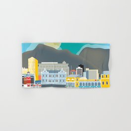 Cape Town, South Africa - Skyline Illustration by Loose Petals Hand & Bath Towel