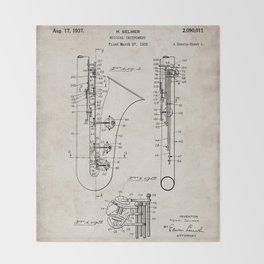 Selmer Saxophone Patent - Saxophone Art - Antique Throw Blanket