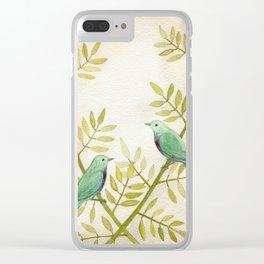 Celadon Birds Clear iPhone Case