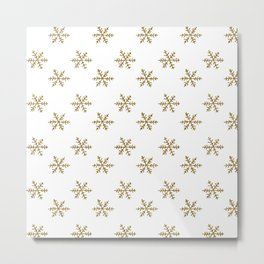 Merry christmas- Gold glitter snowflakes- Winter pattern Metal Print