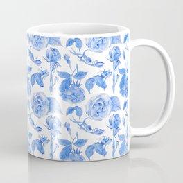 Blue Roses Watercolor Coffee Mug