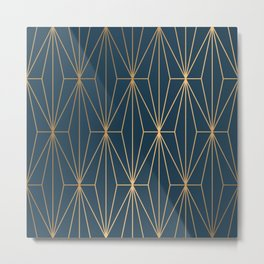 Benjamin Moore Hidden Sapphire Geometric Gold Pattern  Metal Print