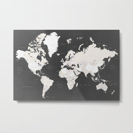 Chalkboard world map with countries and states labelled Metal Print