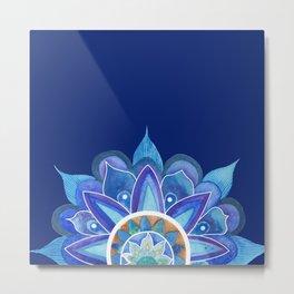 Floral mandala blue Metal Print