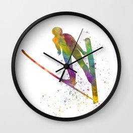 Watercolor ski jump 02 Wall Clock