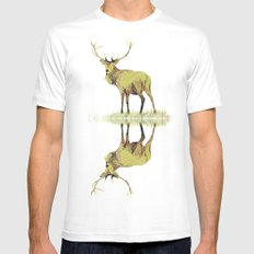 Deer White MEDIUM Mens Fitted Tee