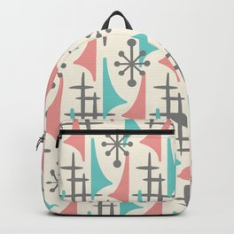 Mid Century Modern Atomic Wing Composition 92 turquoise, Dusty Rose and Gray Backpack