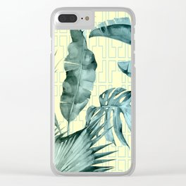 Simply Island Mod Palm Leaves on Pale Yellow Clear iPhone Case