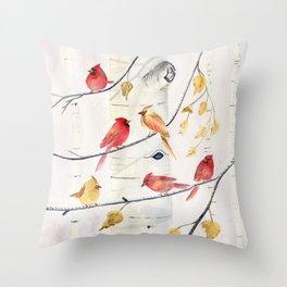 Winter Song 4 - Cardinal Birds Throw Pillow