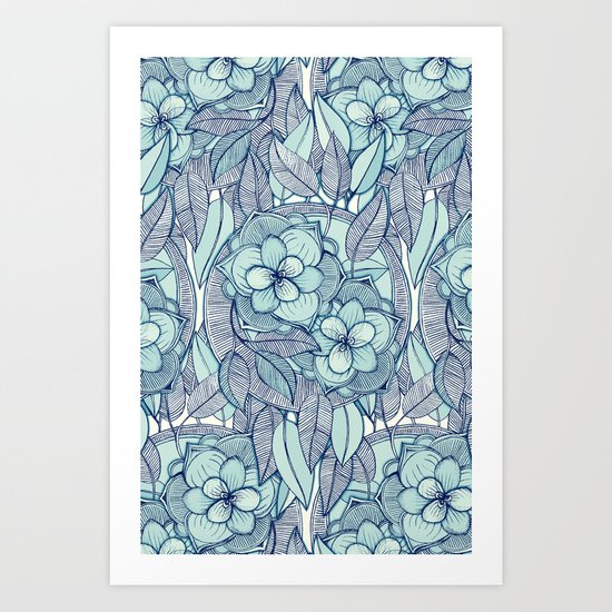 Teal Magnolias - a hand drawn pattern Art Print