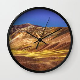 Colored Mountains Landscape, La Rioja, Argentina Wall Clock