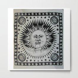 Sun Face Indian Tapestry Metal Print