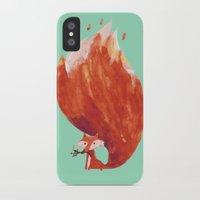 kitsune iPhone & iPod Cases featuring Kitsune (Fox of fire) by Picomodi