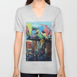 East Broadway Under the Manhattan Bridge Unisex V-Neck