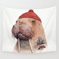 walrus Wall Tapestries featuring Tattooed walrus by Animal Crew